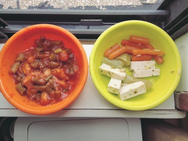 שעועית ירוקה ותפוחי אדמה ברוטב עגבניות, ירקות של מרק וטופו