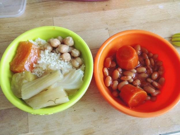 קוסקוס עם מרק, תבשיל שעועית לבנה וגזר