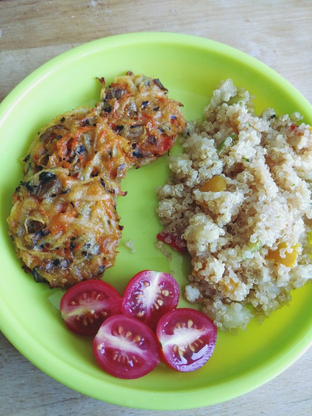 קינואה עם ירקות, לביבות ירקות